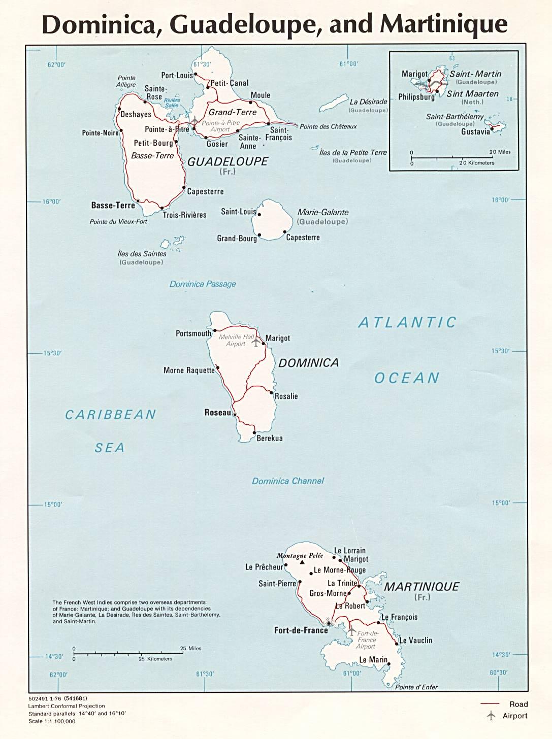 Dominica und Gioadeloupe